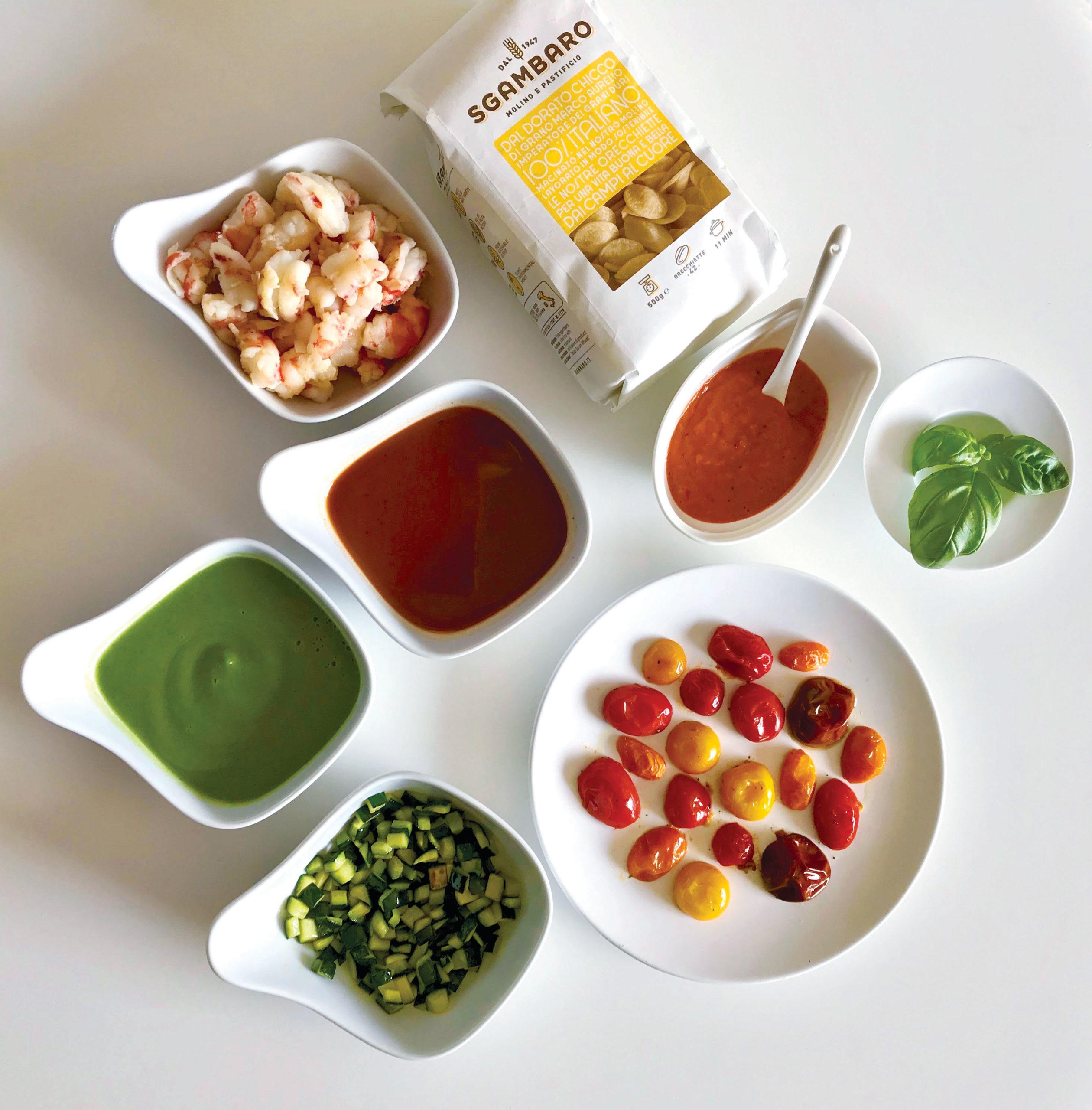 Ingredienti Orecchiette Sgambaro ai pomodorini, con gamberi e zucchine.