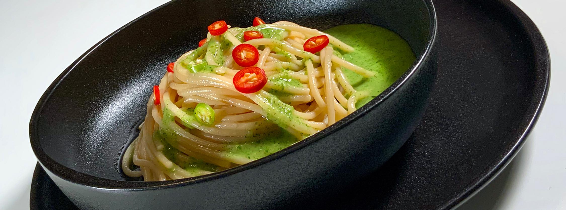 Spaghetti Sgambaro di grano Senatore Cappelli all'aglio, olio, peperoncino e spumante