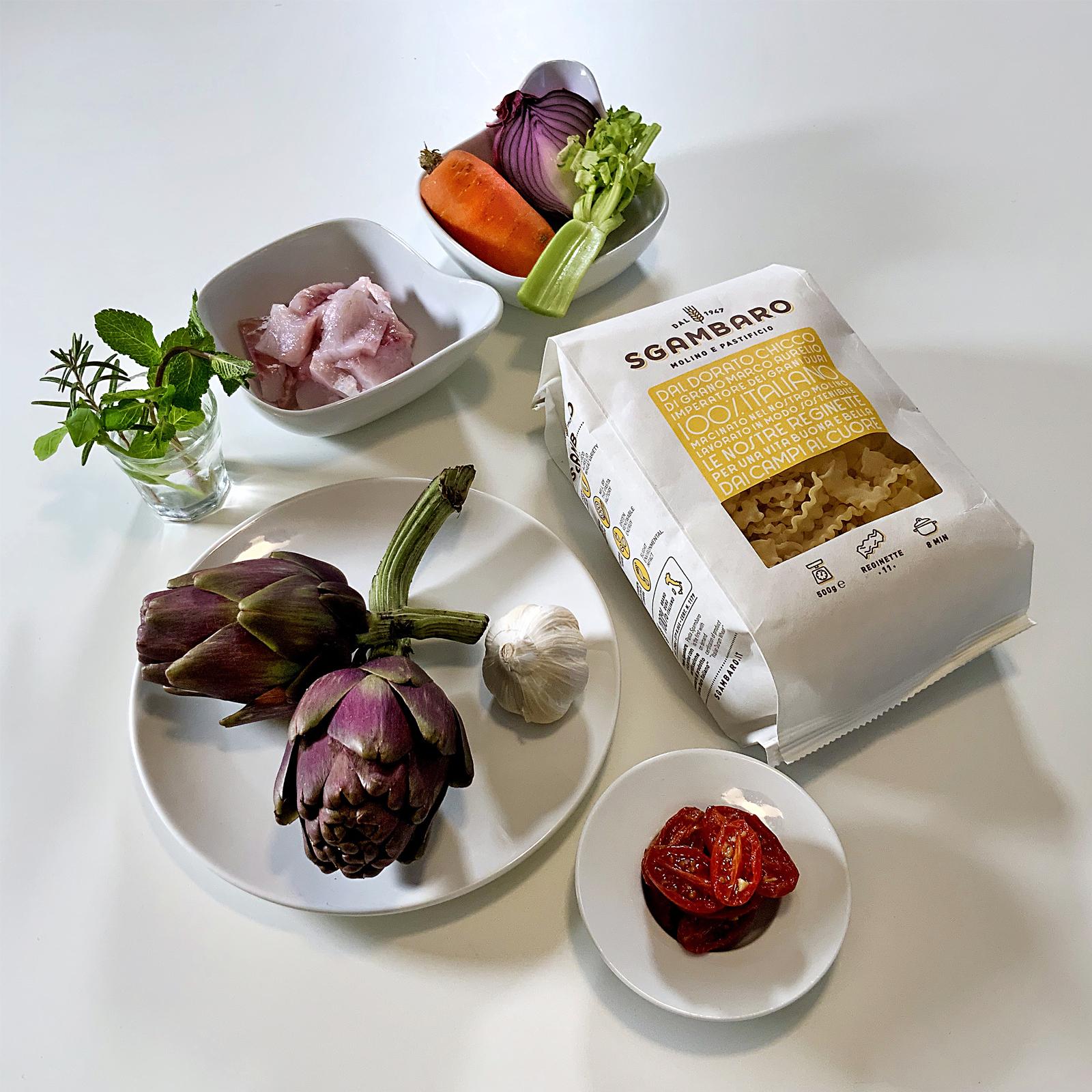 Reginette Sgambaro con crema di carciofi e branzino - ingredienti