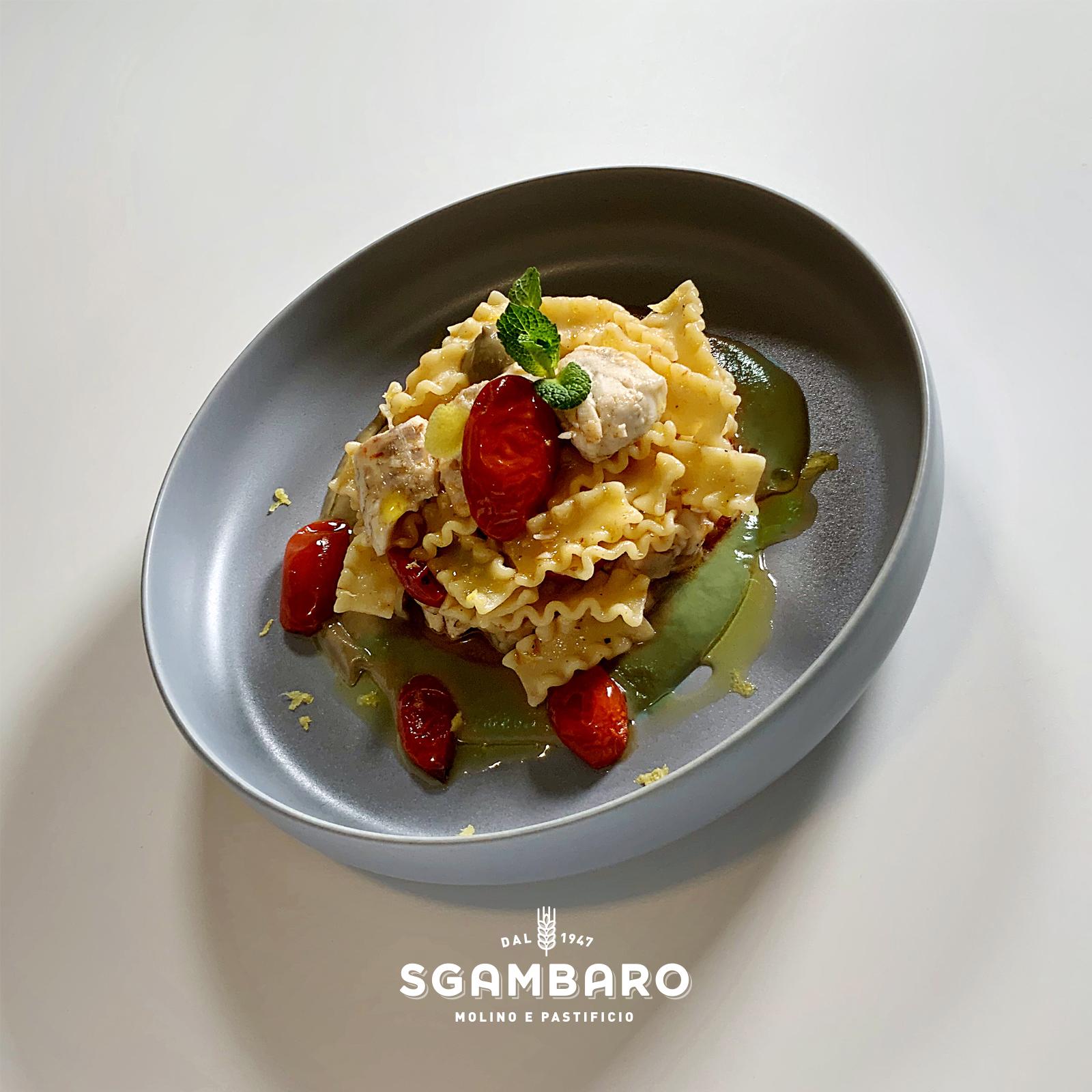 Reginette Sgambaro con crema di carciofi e branzino
