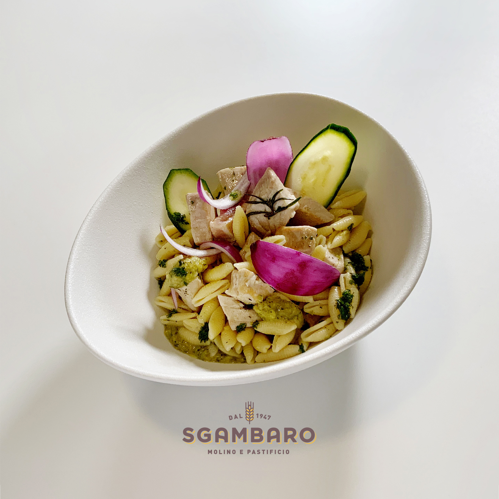 Gnocchetti Sardi con tonno e petali di cipolla rossa in salsa di zucchine